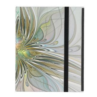 Floral Fantasy Modern Fractal Art Flower With Gold iPad Folio Case