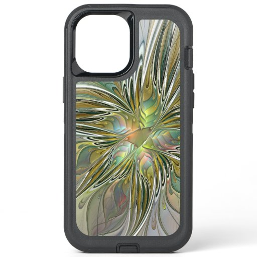 Floral Fantasy Modern Fractal Art Flower With Gold OtterBox Defender iPhone 12 Pro Max Case