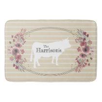 Floral Farmhouse Cow | Monogram Bath Mat