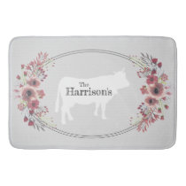 Floral Farmhouse Cow | Monogram Bath Mat