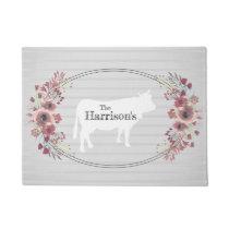 Floral Farmhouse Cow | Monogram Doormat