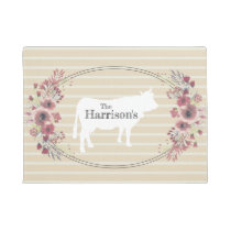 Floral Farmhouse Cow | Monogram Doormat