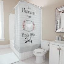 Floral Farmhouse Cow Monogram | Fresh Milk Daily Shower Curtain