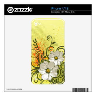 Floral Fashion 9 Phone Skin Decals For iPhone 4