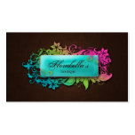 Floral Fashion Linen Blue Brown Double-Sided Standard Business Cards (Pack Of 100)
