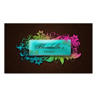 Floral Fashion Linen Blue Brown Business Card