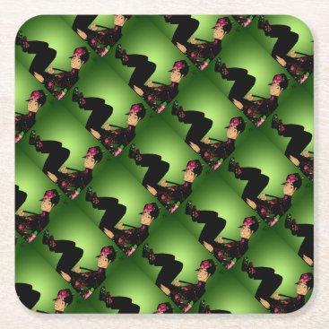 jasmineflynn Floral Fashion Square Paper Coaster