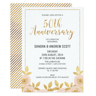 Floral Faux Gold 50th Anniversary Invitation