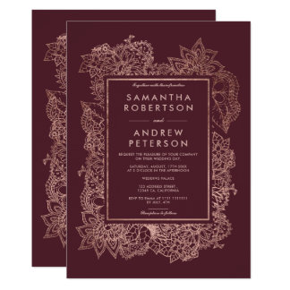 Floral faux rose gold frame burgundy wedding card