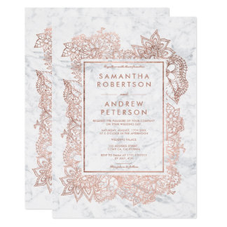 Floral faux rose gold frame marble wedding card