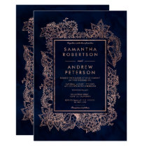 Floral faux rose gold navy blue watercolor wedding card
