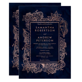 Floral faux rose gold navy blue watercolor wedding invitation