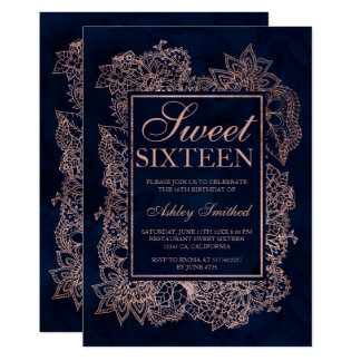 Floral faux rose gold navy watercolor Sweet 16 Card