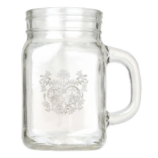 Floral Faux Silver Heart on Mason Jar