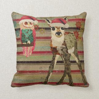 Floral Fawn & Rosa Owl Christmas MoJo Pillow