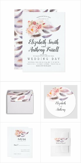 Floral Feathers Wedding Invitation Set