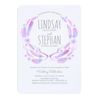 Floral Feathers Antlers Lavender Purple Wedding Card