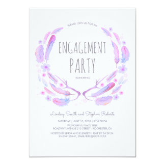 Floral Feathers Antlers Woodland Engagement Party Card