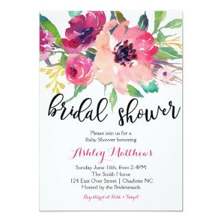Floral feathers Floral Bridal Shower Invitation