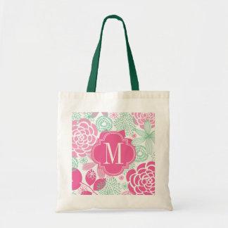 Floral femenino de la verde menta rosada fucsia bolsas