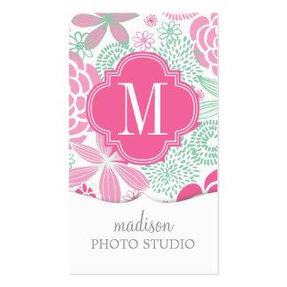 Floral femenino de la verde menta rosada fucsia tarjetas de visita