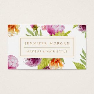 Floral femenino del salón de belleza del estilo de tarjetas de visita