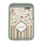 Floral femenino del vintage del monograma del dama fundas para iPad mini