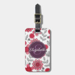 Floral femenino moderno personalizado etiquetas maleta