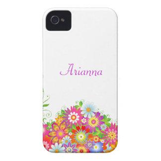 Floral femenino personalizado iPhone 4 Case-Mate coberturas