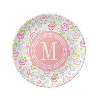 Floral femenino rosado y azul lindo personalizado plato de cerámica