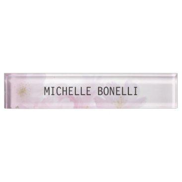 Floral Feminine Professional Plain Legible Modern Desk Name Plate