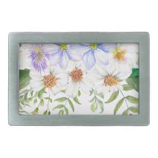 Floral Field Bouquet Rectangular Belt Buckle