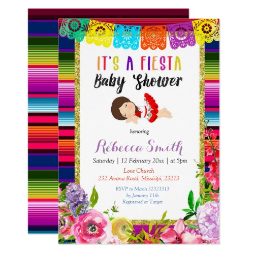 Floral Fiesta Baby Shower Festive Invitation Girl