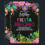 """Floral Fiesta Birthday Party Mexican Flower Invite<br><div class=""""desc"""">Fiesta Birthday Invitation  Featuring vibrant Mexican inspired watercolor flowers,  succulents and faux gold confetti</div>"""