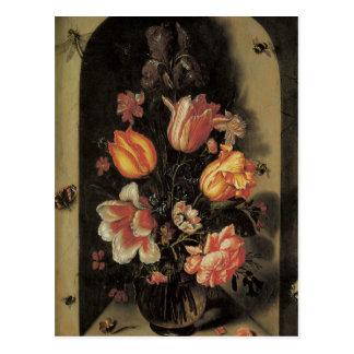 Floral Fine Art Roses Tulips Butterflies Postcard