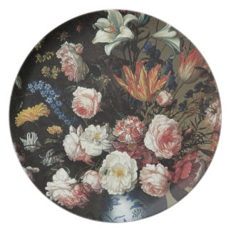 Floral Fine Art with Roses Lilies Plate