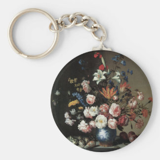 Floral Fine Art with Roses Lillies Keychain