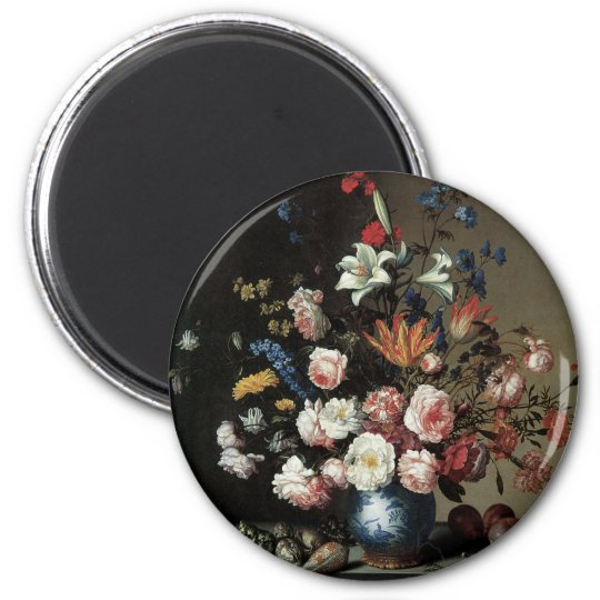 Floral Fine Art with Roses Lillies Magnet