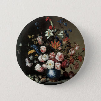 Floral Fine Art with Roses Lillies Pinback Button