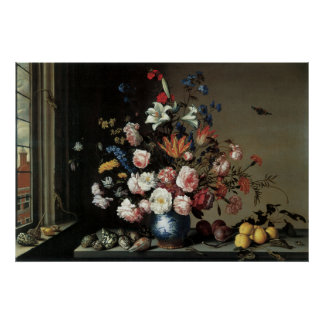 Floral Fine Art with Roses Lillies Poster