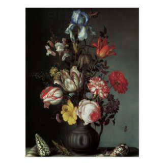 Floral Fine Art with Roses Tulips Irises Postcard