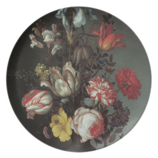 Floral Fine Art with Roses Tulips Plate
