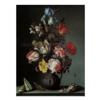 Floral Fine Art with Roses Tulips Poster