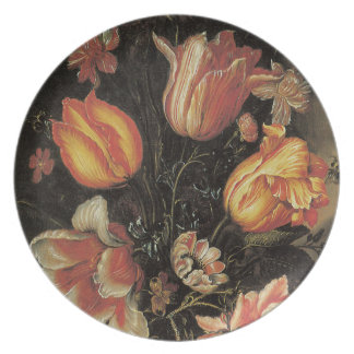 Floral Fine Art with Tulips Plate