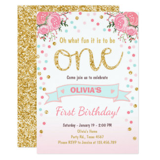 Rose Gold Birthday Invitations Announcements Zazzle - 1st birthday invitations gold and pink