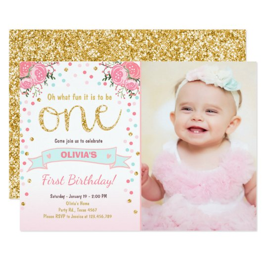 floral first birthday invite girl pink gold roses zazzle com