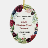 Floral First Christmas At New Home | New Address Ceramic Ornament
