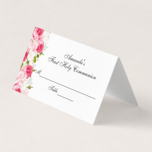 floral first communion custom place card - Custom Place Cards