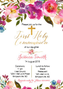 Glitter First Communion 1st Holy Communion Invitations Zazzle