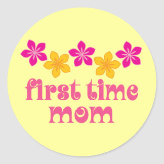 Floral First Time Mom Classic Round Sticker